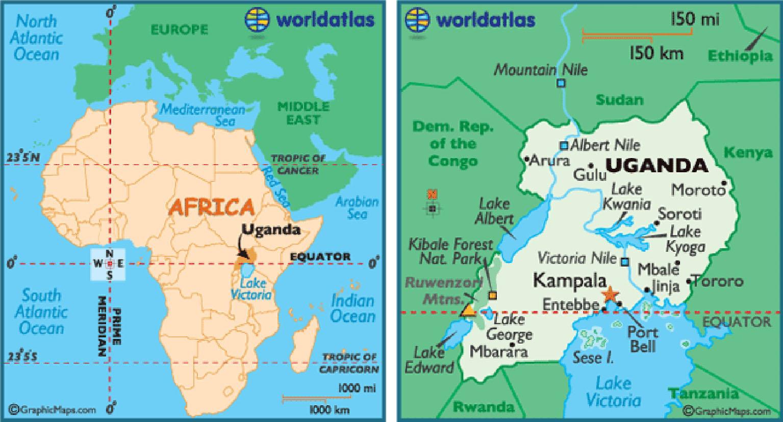 Mappa dell'Africa e dell'Uganda (Foto: http://www.worldatlas.com)